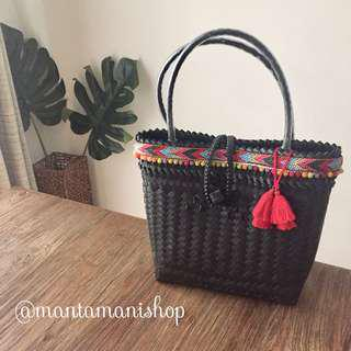 Woven bag handmade custom with tassel