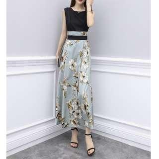 🚚 temperament ladies goddess fan women's summer 2018 new high-waist sleeveless mosaic dress dress big skirt skirt