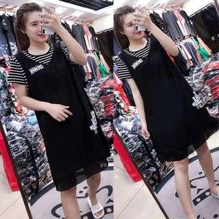 🚚 Large yard loose fake two short-sleeved striped chiffon dress