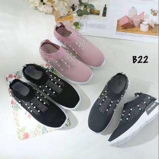 Sepatu fashion b22 sepatu wanita suede slip on || real pic