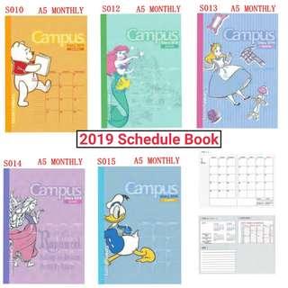 (訂購) [日版] 2019 Schedule Book 手帳 - Rapunzel 長髮公主, Alice 愛麗絲, Winnie The Pooh 小熊維尼, Ariel 小魚仙 美人魚, Donaldduck 唐老鴨
