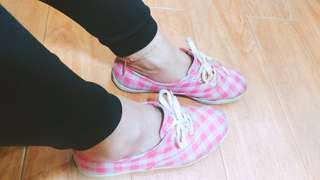 🚚 Keds粉紅白格帆布鞋二手鞋(Espadrilles)#女裝半價拉
