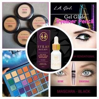 🚚 Make Up -  Jordana Pressed Powder, Hyrah Magani, LA Gel Glide, Lash Sensational & ELSA Eyeshadow Palette