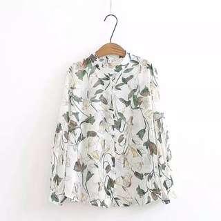 (2XL~5XL) Spring and summer loose printed chiffon sun protection shirt