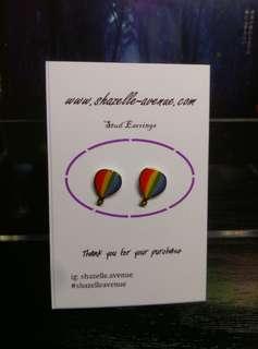 Rainbow hot air balloon ear stud by shazelle avenue