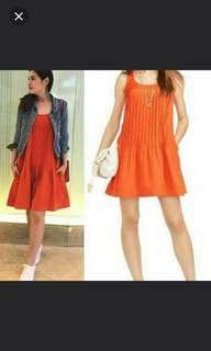 Ralph Lauren pleated orange buttom dress. Size 14.