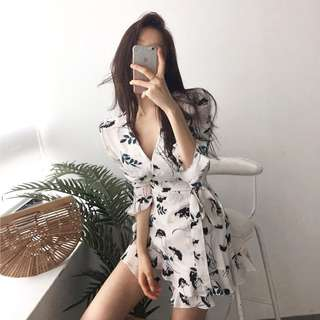 Floral print white long sleeve dress romper