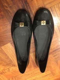 Tory Burch Black Jelly Bow Ballet Flats