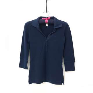 💓 Miss Shop (Australian brand) Navy Blue Quarter Sleeve Polo Top