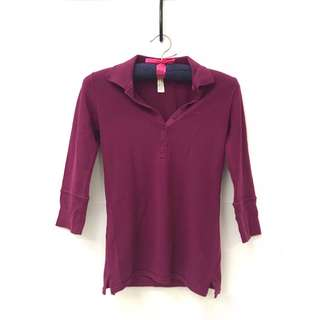 💓 Miss Shop (Australian brand) Magenta Quarter Sleeve Polo Top