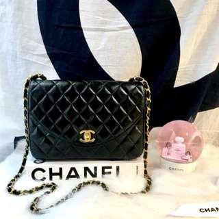 Vintage Chanel黑色羊皮菱格复古flap bag 23x17x7cm