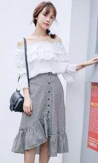 Gingham Midi Button Skirt