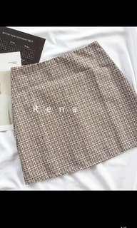Beige Gingham A Line Skirt