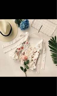 Self Tie Floral Crop Flutter Top