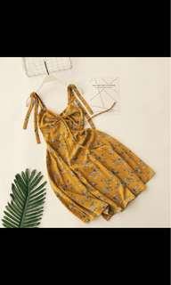 Mustard Floral Self Tie Dress