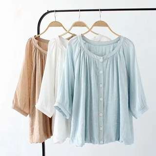 (XL~3XL) Spring and summer loose solid color sleeve shirt shirt