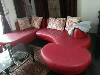 Red sofa c shaped for 8 people