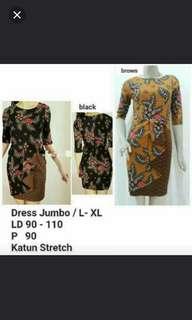 Dress Batik Warna Hitam LD.100cm, Panjang 90cm. Material. Katun Stretch.