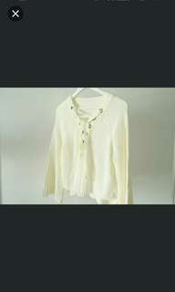 Knitted white lace up top #july70