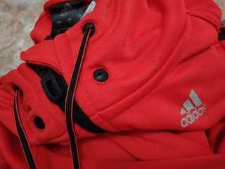 Jaket Running/Casual Adidas Original Seri Climalite Size S (Unisex), LD.50cm, Panjang 66cm, Warna Orange, Material. Polyester, Kondisi 90%