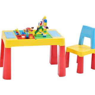 Multi purpose kids' activity table set compatible with lego duplo blocks brand new ready stock