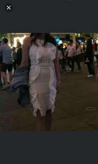 White crochet halter neck dress #july70