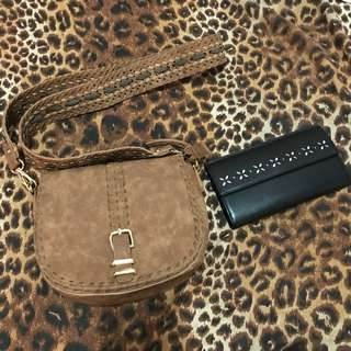 Brown boho sling bag & R&B long black wallet