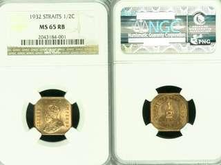 Malaya Kgv 1932 Half Cent. NGC Ms65RB