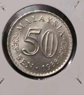 Malaysia 1988 50sen Parlimen extra dot
