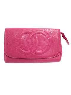 Vintage Chanel粉紅色魚子醬化妝包手拿包clutch 17x11x5cm
