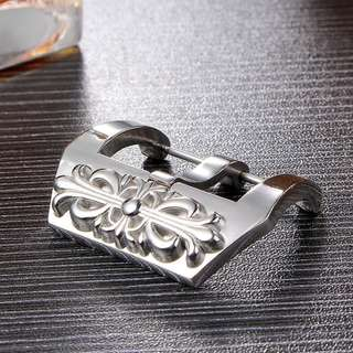Buckle Jam Tangan Silver Polished Stainless Steel untuk Strap Leather