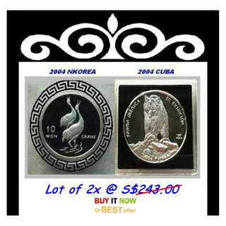 ★ NKorea Won & Kuba Pesos, 2004 Mix Choice - 2x 1 Troy Oz. 999 Fine Silver Proof coins
