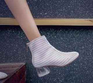 新款高跟網紗短靴女夏涼鞋性感水晶跟透明網靴百搭拉鍊透氣春秋靴
