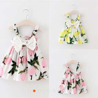 0-3Y Infant Baby Girls Summer Floral Dress Lemon Print