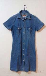 Jeans dress full kancing depan