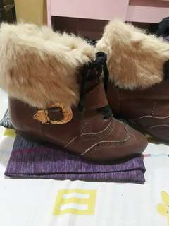 Brown Leather Feathered Boots