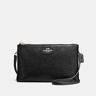 Authentic Coach LYLA CROSSBODY IN PEBBLE LEATHER F38273 GOLD/BLACK