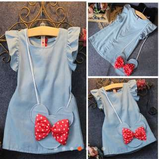 Cotton Cute Baby Girl Dress Cartoon Bag Ruffles Bow Denim