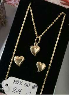 18k saudi gold heart design 1 set package