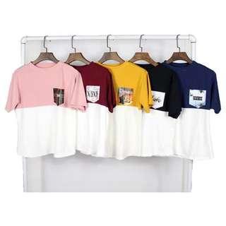 Pocket Design Print Shirt Crop Tops