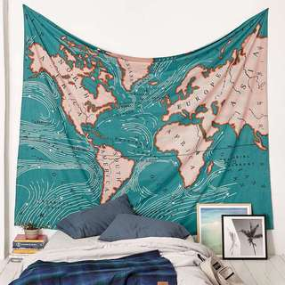 Tapestry world map (ready stock)