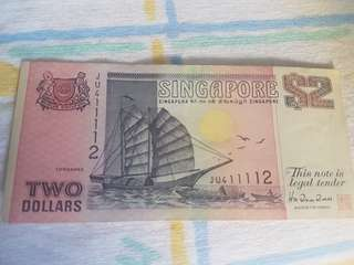 $2 Ship series banknote #JU411112