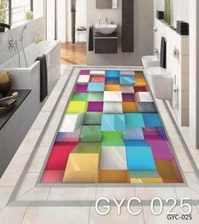 Modern 3D Mural Floor Wallpaper Self Adhesive