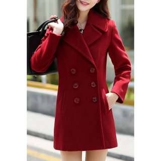 Solid Color Lapel Long Sleeve Peacoat  TG
