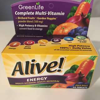 Brand new GreenLife Alive! Energy Multi-vitamin / Multi-mineral