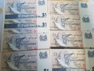 $1 Bird series banknotes #F/12 672741 to 672749