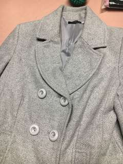 Light grey wool coat size 8