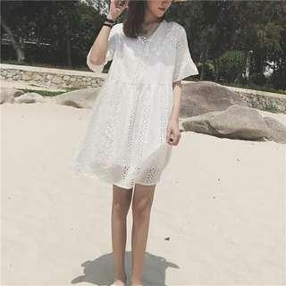🚚 夏季女裝韓版中長款氣質甜美小清新仙女裙短袖顯瘦連衣裙連身洋裝學生裙子時尚外穿