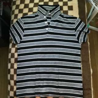 Penshoppe Gray and Black Stripped Polo Shirt