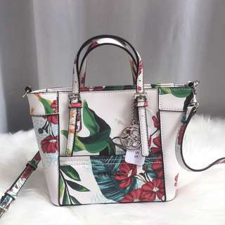 AUTHENTIC GUESS Floral Printed Mini Delaney Handbag
